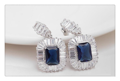 5Ct Radiant Cut Blue Sapphire Halo Cocktail Drop Earrings 14K White Gold Finish