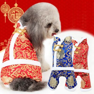 Pet Dog Chinese New Year 2019 Cosplay Costume Puppy Satin Plush Warm Clothes US