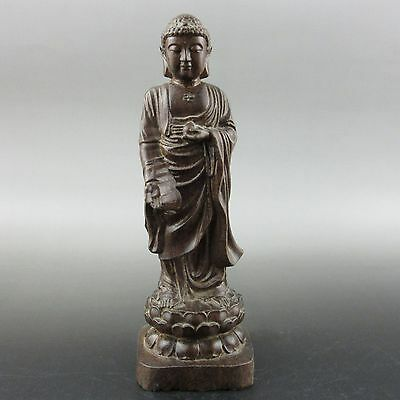 Old Chinese agalloch eaglewood wood hand-carved bodhisattva statue sl