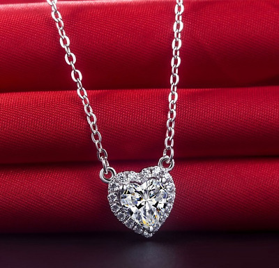 1.2ct Heart Cut VVS1D Diamond Pendant Chain Halo Heart Shape 14k White Gold Over