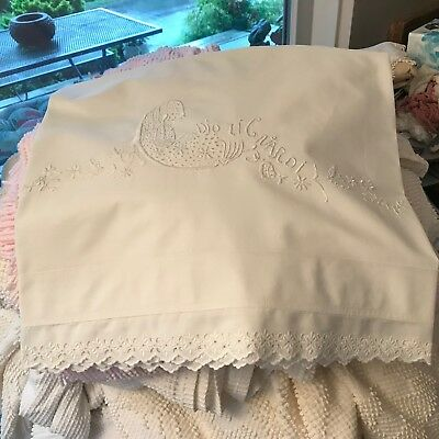 35x76 antique layover sham hand worked NU freshly laundered white cotton percale