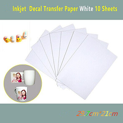 10 Sheets A4 Inkjet Water Slide Decal Paper WHITE Transfer Printing Paper