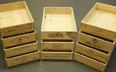 Flat Half Size Genuine French Wooden Wine Crate Box - Hamper Storage Planter '