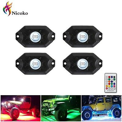 Nicoko Multicolor RGB LED Rock Light Kits with remote control 10 solid colors