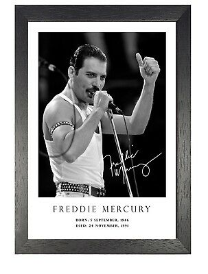 Freddie Mercury British Singer Poster Firmato Foto Queen Musica Star On Stage
