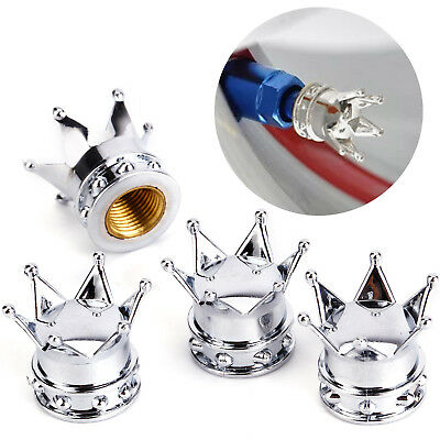 4x Bike Car Motorbike Wheel Tyre Air Valve Dust Caps Covers Crown Silver