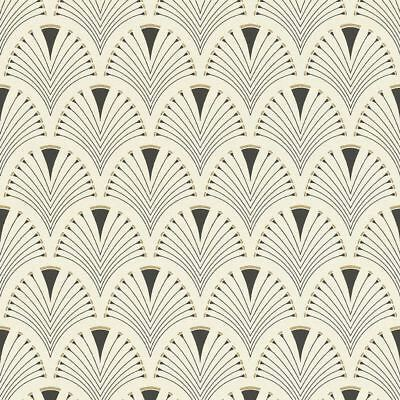 Retro Art Deco Fan Arch Design Black Cream Wallpaper Vinyl Paste Wall Glitter