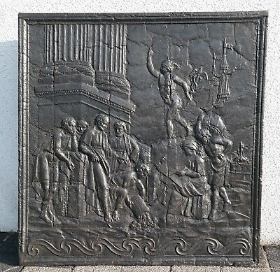 """Original Antique Fireback """"Trading scenery in the harbour with Mercury"""" 18th C"""