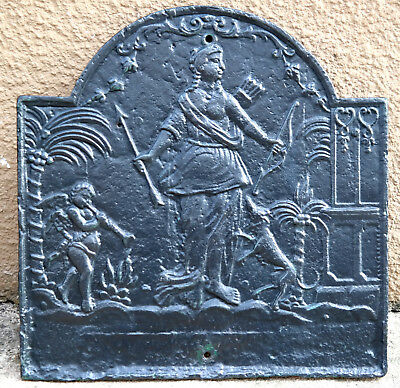 """Original Antique Fireback from France- """"Diana, godess of Hunting"""" Cast Iron"""