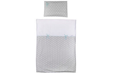 Duvet and Pillow Case Baby Bedding Set. Cot/cot Bed. Grey with White Stars