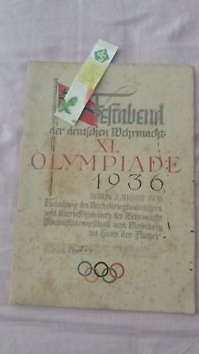 Rare Olympic Berlin 1936 Official Dinner Program I delegati dei capi firmati