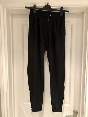 H&M Cuffed Trousers In Black, Elasticated Waist, Size 12-13 Years, New