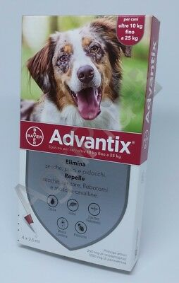 Advantix Antiparassitario spot-on per Cani 10 - 25 Kg, 4 pipette