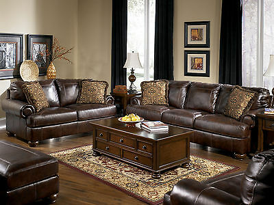 FOSTER TRADITIONAL LIVING Room Couch Set Furniture - Brown ...
