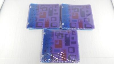 "3 Creative Memories 7"" x 7"" Scrapbook Albums Purple & Blue Geometric Doubledipz"