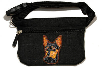 Mini Pin Miniature Pinscher embroidered treat pouch bait bag dog show, training.