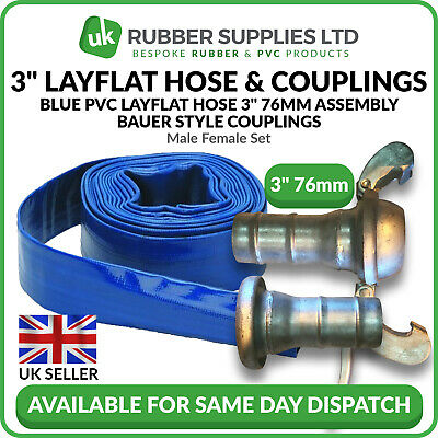 "Blue PVC Layflat Hose 3"" 76mm Assembly Bauer Style Couplings Male Female Set"