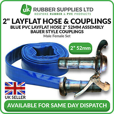 "Blue PVC Layflat Hose 2"" 52mm Assembly Bauer Style Couplings Male Female Set"