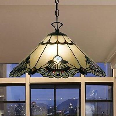 Pendant Hanging  Lamp Tiffany Style Off White & Brown Stained Glass Shade Metal