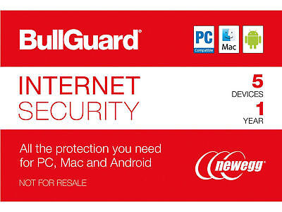 BullGuard Internet Security 2019 - 5 Device / 1 Year - PC, Mac, or Android ✔️✔️✔