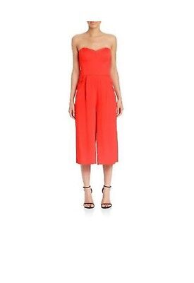 e8a52a90590e MILLY Women s Red Silk Strapless Sweetheart Culotte Jumpsuit Size 8