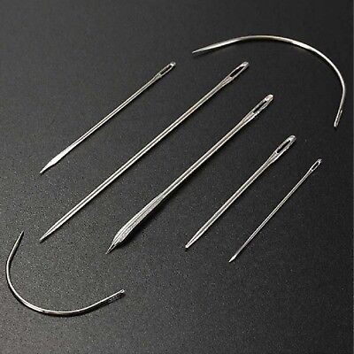7pc Sewing Needles Repair Kit Upholstery Carpet Leather Curved Canvas Patching
