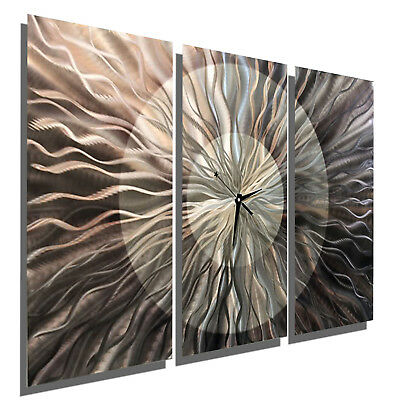 Jon Allen Large Metal Wall Clock Art Abstract Silver Gray Painting Modern Decor