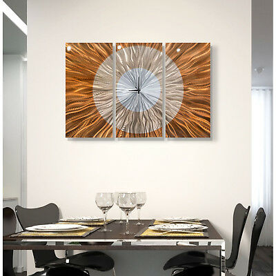 Jon Allen Metal Wall Clock Art Panels Silver Copper 3D Abstract Modern Decor