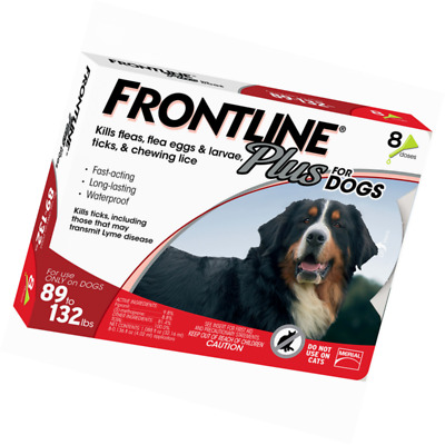 Frontline Plus For Dogs 89 to132, 89-132 lbs. 8 Month, Eight Doses, 8 Pack