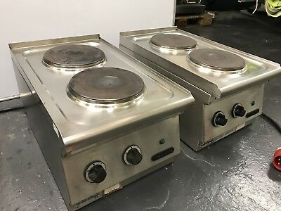 Commercial 2 Burner Electric Cooker Hob Unit Pair Of Totally 4 Hot Plate Kitchen