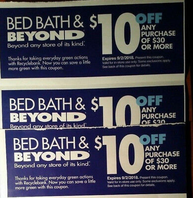 LOT OF 3 coupons BED BATH BEYOND immediate ship $10 OFF $30 better than 20% code