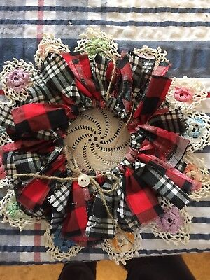 Handmade Plaid Mini Rag Wreath With Button - Rustic Primitive Country