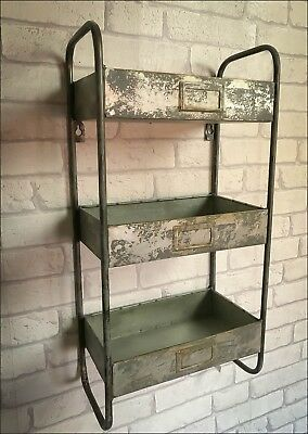Retro Industrial Style Three Tier Wall Shelf Shelving Unit Metal Storage Vintage
