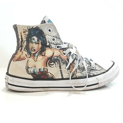 8cc23f45909 Converse Chuck Taylor New Print All Star Hi Wonder Woman DC Sneaker White  Shoes