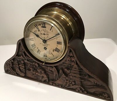 Antique Kelvin Bottomley & Baird Ships Clock W/Custom Mantle Stand Glasgow