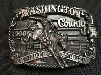 Vintage Belt Buckle Washington County Power Rents Rodeo 1990, Limited addition