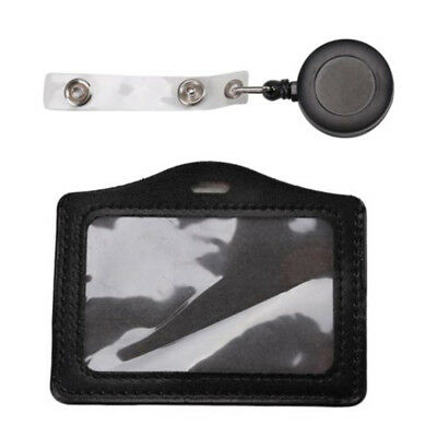 Black ID Card Holder Badge Reel Oyster Security Retractable Photo Identity Pass