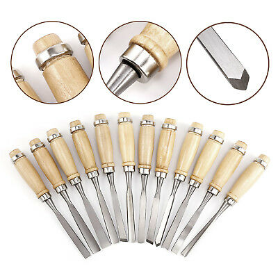12Pc Pro Wood Chisel Carving Crv Professional Carpenters Tool Set Hand In Bag