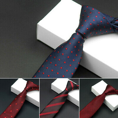 Men Business Tie Jacquard Skinny Silk Gift Chic Wedding Formal Diamond Check New