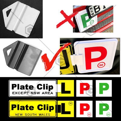 Black white Clip It On Plate Clips for Car NO. Licence and p/l plate easy to use