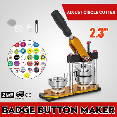 """58mm(2.28"""") Button Maker Rotate Machine Pin Buttons Key Chains Punch Press AU"""