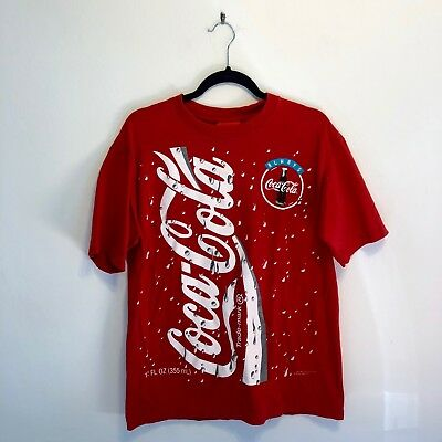 Vintage 90s Coca-Cola T-Shirt Double Sided All Over Print Promo Single Stitch Lg