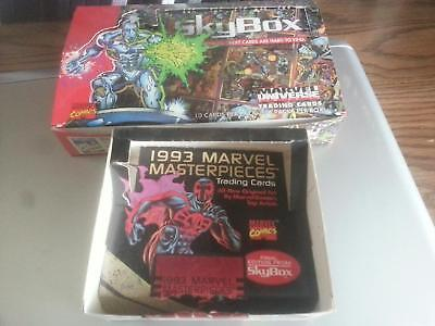 1992 Skybox Marvel Universe Iv & 1993 Marvel Masterpieces Empty Card Boxes