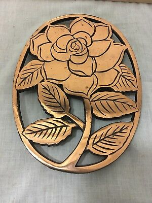 VINTAGE CAST IRON Trivet Wall Hanging Copper Finish Tabby