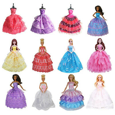 MM 5 Pcs Handmade Fashion Wedding Party Gown Dresses & Clothes for Barbie Doll
