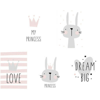 Nordic Cartoon Rabbit Letter Canvas Printed Home Kids Room Art Wall Painting Cle
