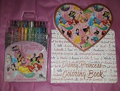 Disney Parks  Princess Twist Up Crayons 24 Pk & Coloring Book Valentines Day New