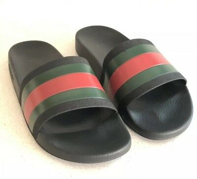 96cb83e1f63 GUCCI PURSUIT 72 Black Green Red Rubber Slide Sandals Mens Size 12 G ...