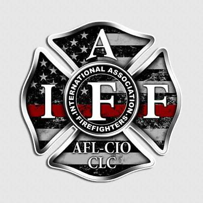 2pk IAFF Thin Red Line Decal Distressed Flag Firefighter Cross Badge Sticker
