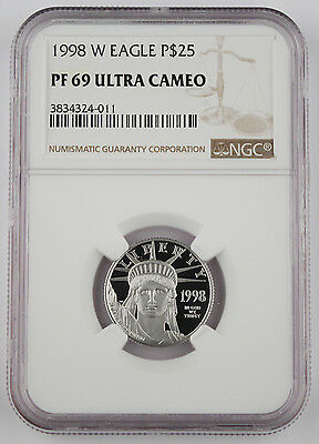 1998 W $25 1/4 Oz 9995 PLATINUM American EAGLE Proof Coin NGC PF69 Ultra Cameo